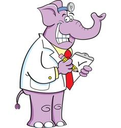 Cartoon Elephant Doctor vector