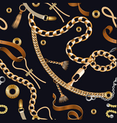 Chains and braids seamless pattern golden vector