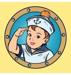 Child sailor ship kids game retro vector image