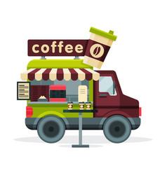 coffee truck street meal van mobile shop vector image