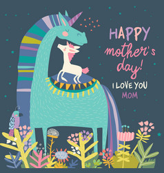 cute small unicorn with mom mothers day vector image
