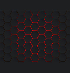 dark gray and red hexagons modern geometrical vector image