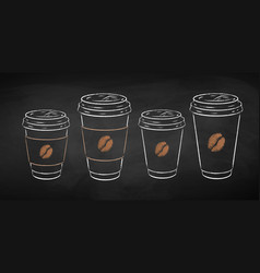 Disposable takeaway paper coffee cups vector