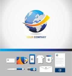 Earth logo icon 3d symbol vector image