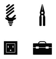 electrician icon set vector image