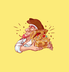 emoji sticker captain mascot hold treasure chest vector image
