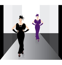 fashion models on the podium vector image