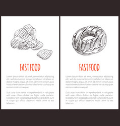 fast food chips and donut vector image