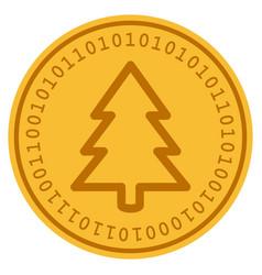 Fir-tree digital coin vector