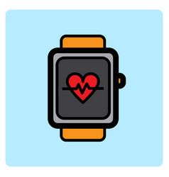 flat color smart watch icon vector image