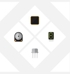 flat icon technology set of cpu resist display vector image