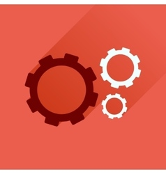 Flat icon with long shadow gears cogs vector