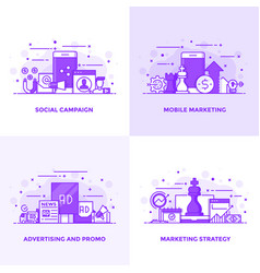 Flat line purple designed concepts 4 vector