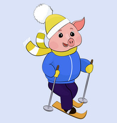 funny cartoon pig in warm clothes on skis vector image