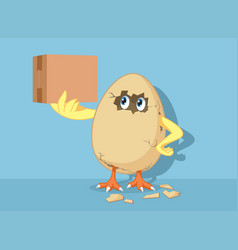 Funny easter chick hatching egg holding delivery vector