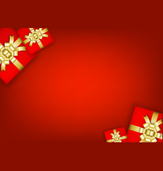 Gift boxes christmas on red background vector