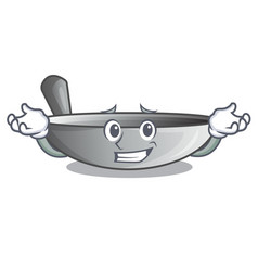 grinning wok frying pan utensil kitchenware vector image