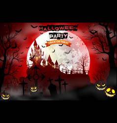 halloween background with scary graveyard vector image