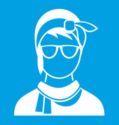 Hipster woman icon white vector