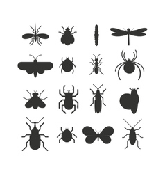 insect icon black silhouette flat set isolated vector image