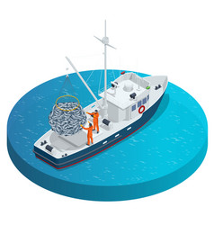Isometric shipping seafood industry boat isolated vector