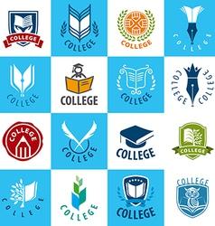 large set logos college vector image