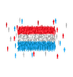 Luxembourg state flag formed by crowd of cartoon vector