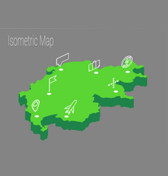 map switzerland isometric concept vector image