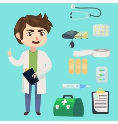 Medical staff character Young man doctor vector