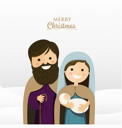 Merry christmas greeting with holy family vector
