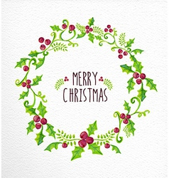 Merry Christmas watercolor holly berry wreath card vector image