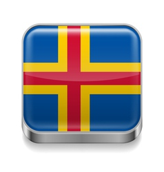 Metal icon of Aland Islands vector image