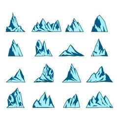 Mountain icons set vector