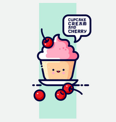 Muffin with cream and cherries speech bubble vector