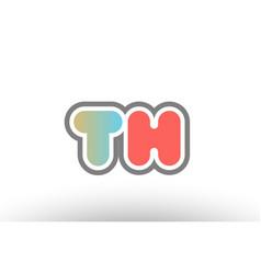 Orange pastel blue alphabet letter th t h logo vector