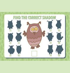 Owl find the correct shadow horizontal album a4 vector