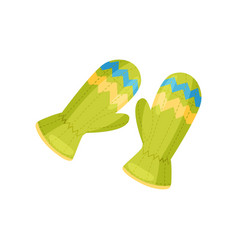 Pair knitted mittens green vector