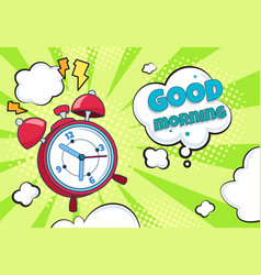 Pop art alarm clock cartoon retro time background vector