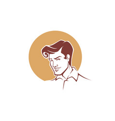 Portrait of handsome young man in retro style for vector