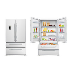 realistic refrigerator cabinet collection vector image