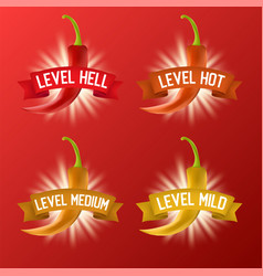 red hot chili pepper heat scale realistic vector image