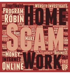 Robin hood and the work at home scam text vector