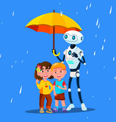 robot keeps an open umbrella over little child vector image