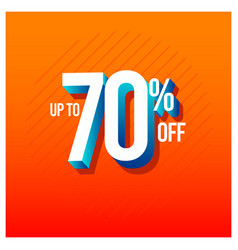 Sale discount up to 70 off set template design vector