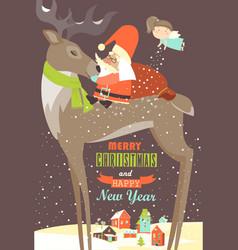 Santa Claus sitting on reindeer vector image