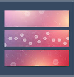 Scientific set of banners hexagonal vector