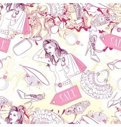 Seamless pattern with surprised woman and fashion vector image