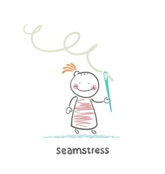 Seamstress holding thread and needle vector