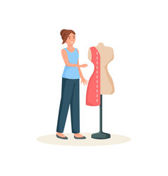 Seamstress standing with needle near mannequin vector
