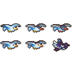 set of pixel birds vector image